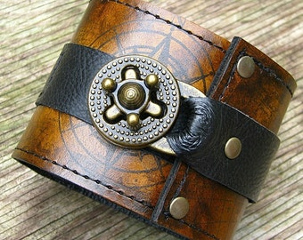 Steampunk Leather Wrist Wallet Bracelet Cuff for Men & Women that travel - World Map - Made To Order