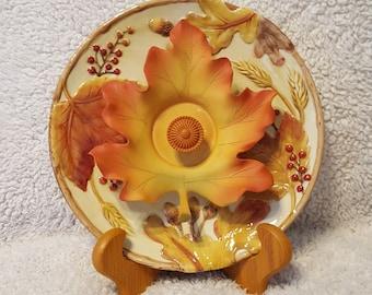 Orange Maple Glass Plate Flower