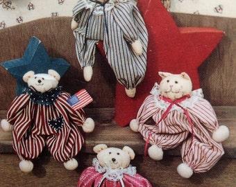 Bear Doll Pattern Bunny Cat Doll Pattern Recycled Empty Spool Dolls Vintage Pattern - Spool Babies