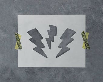 Lightning Bolts Stencil - Reusable DIY Craft Stencils of a Lightning Bolt