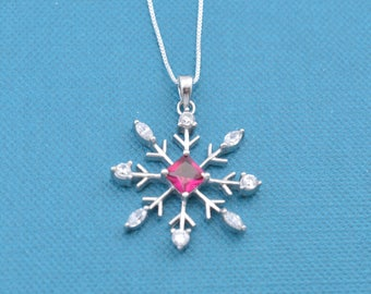 "Snowflake necklace in sterling silver on an 18"" inch sterling silver chain.  Snowflake necklace.  Snowflake charm.  Snowflake pendant."