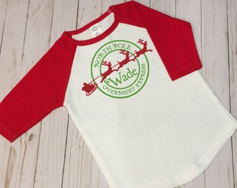 North Pole Special Delivery T-Shirt / Boy's Christmas Shirt / Ragland Style Holiday Shirt / Personalized Christmas Shirt for Boys