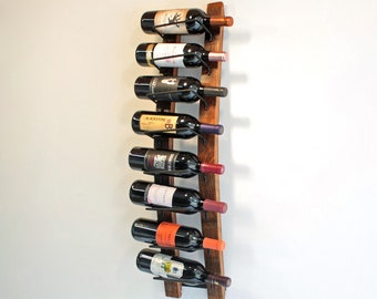 Wine Barrel Stave Wall Wine Rack, Reclaimed Wood Wine Rack 8 Wine Bottle Holder
