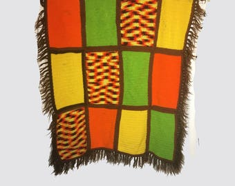 Vintage Afgan, Afghan, Throw, 1970's, Knitted, Patchwork, Fall Colors, Brown, Green, Orange, Yellow, Fringe