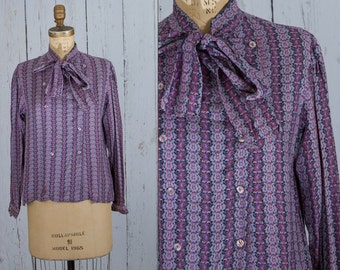 vintage 1950s purple bow blouse