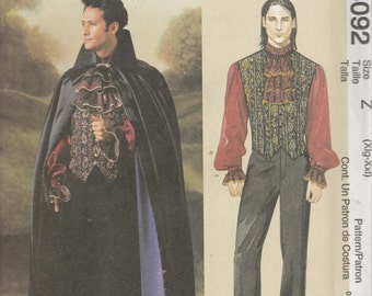 McCall's Costumes 4092 Size Xlg-XXL Men's Vampire Lined Cape , Vest, Shirt & Jabot Sewing Pattern 2003 UnCut