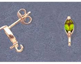 Solid Sterling Silver or 14kt White or Yellow Gold 1 Set (2 pieces) 4x3-6x3 Marquise Earring Setting, with Open Hoop/Ring 162-143/142-143