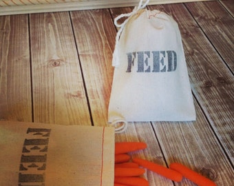 10 FEED Bags muslin draw string Sacks for Western Wedding party favors