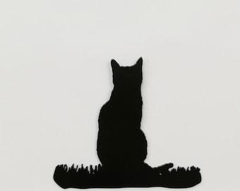 """Cat in Grass #1 - Metal Wall Art - 8"""" Wide x 7"""" Tall - (MM14---)"""