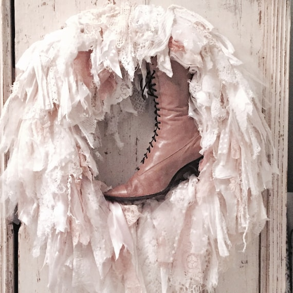 Wreath, hand made, Antique French lace, Antique lace up leather boot.