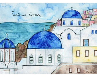 SANTORINI, GREECE Print 11X14 Ink and Watercolor Painting