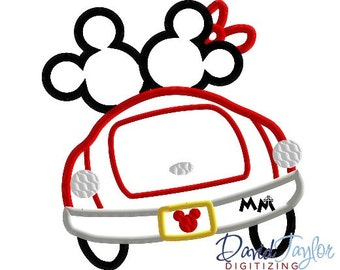 Disney or Bust Mickey & Minnie Car (Car only) - 4x4, 5x7, 6x10, 7x8 in 9 formats- Applique - Instant Download - David Taylor Digitizing