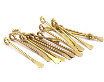 Paddle Eye Pins, 12 Raw Brass Paddle Eye Pins (30x1.2mm) D385