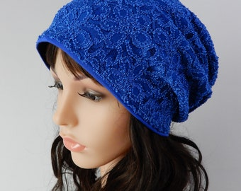 Blue lace beanie hat women Slouchy beanie hat for women Lace beanie with lining Boho hat women Chemo hat viscose lined stretch S-L