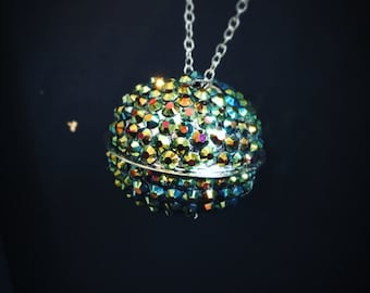 Kitty Bell Necklace with Iridescent Gems
