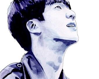 BTS Watercolour Portrait Prints: Jin (Kim Seokjin)