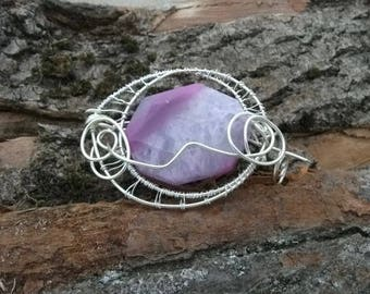 Purple agate Brooch Pin with wirework