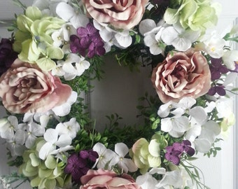 Soft white and green Hydrangea wedding wreath