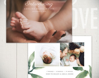 Birth Announcement Template: Bloom Card A - 5x7 Card Template Baby Boy or Baby Girl