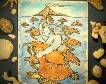 "Original Piece. ""Sea Turtle Goddess."" 8x10 inch. Original watercolor painting. 140lb cold press paper. Turtle art. Goddess art."