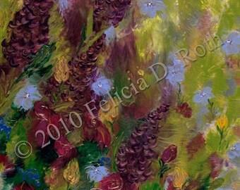 Mercury's Garden - by Felicia D. Roth - Fine Art Giclee Print - Felicias Fine Art - Roses & Forget Me Nots in Garden - Impressionism