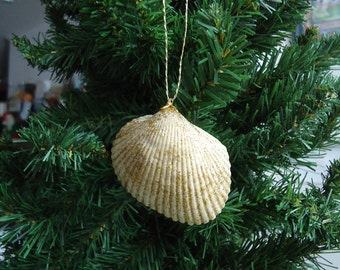 Small Glittery Shell Christmas Tree Ornament