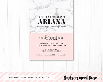 Printable - The 'Ariana' Marble Blush Birthday Invitation | Milestone | 21st | 18th | 30th