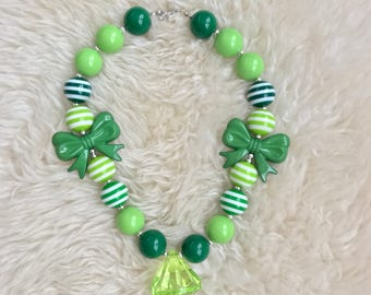 Chunky necklace, green  necklace, baby, toddler