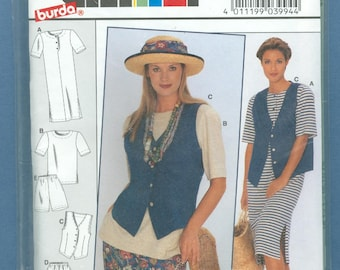 1994 Misses' Knit Dress, Pullover Top, Vest, Shorts and Pants Uncut Factory Fold Size 12,14,16,18,20,22 - Burda Sewing Pattern 3994