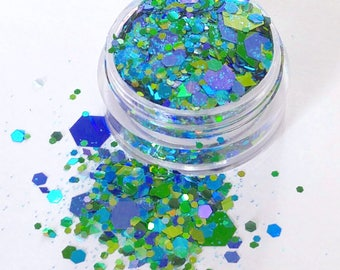 Oriental Dragon -Various Blue and Green Holographic Shades, Chunky Body and Face Glitter, For Festival & Creative Makeup, Slime and Crafts