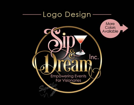 Custom Logo Design, Small Business Logo, Empowering Events Logo, Gold, Rose Gold Logo, Martini Glass Logo, Circular Logo, intertwined Logo