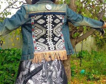 Embellished denim jacket-Bohemian-gypsy-hippy-styled.