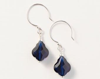 Baroque Earrings with Swarovski® Crystals-Dark Indigo-Drop Earrings-Sterling Silver-Dark Blue Earrings
