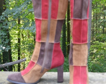 Size 7.5M - Multi-colored Retro Prima Fiddle Suede Boots