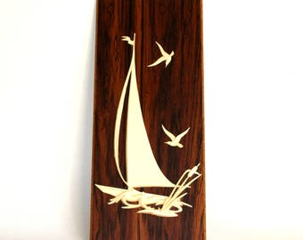 Vintage Yacht & Birds Wooden Wall Hanging - Mid Century 3D Plastic Seagull Sailing Boat - Hand Crafted Wall Plaque - Made in West Germany
