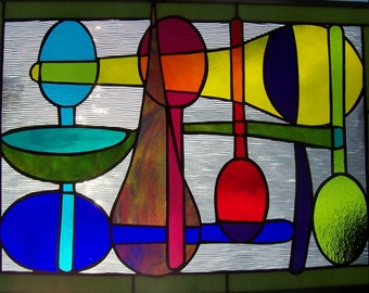 Stained Glass Window Panel, Colorful Spoons, Cheerful Kitchen Decor, Home Decor, Modern Stained Glass Art