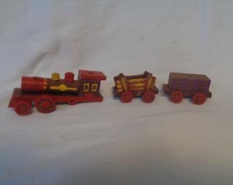 Vintage Wooden Birthday Cake Candle Holder - 3 car train