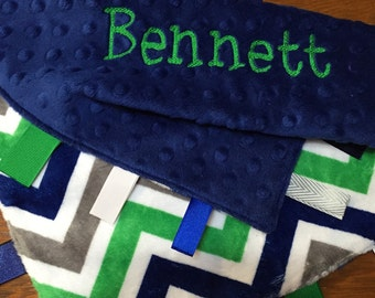 Blue and Green Chevron Tag Blanket, Minky Ribbon Blanket, Ribbon Lovey Style Blanket, Security Blanket