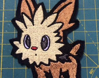 """Pokemon Lillipup inspired 4.25"""" dog terrier pup iron-on patch"""