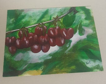 Sale Cherries Painting Acrylic Painting On Paper Handmade Wall Art High Quality