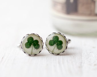 Four leaf clover cufflinks, Green Shamrock cufflink, Saint patricks day, St patricks day gift, 4 leaf clover cufflinks, Good luck cufflinks