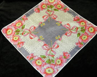 VINTAGE~With or w/o Monogram~50's Pink and Lavender Floral Handkerchief - See Item Description - 1139