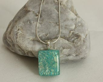 Pendant fused dichroic glass, turquoise light green necklace, gift for her