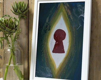 Abstract painting, sacred, erotic, feminine postcard