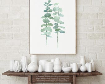 Eucalyptus Fine Art Print Canvas Wall Decoration, Mint Green Botanical Watercolour Painting Abstract Silver Dollar Plant Pastel Nursery Room