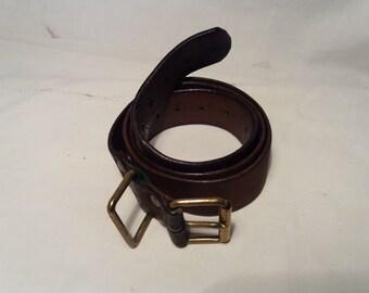 Vintage Swedish Army Brown Leather Officer's Belt