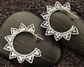 20%OFF SALE! Sterling Silver Lotus Petal Hoop Earrings with Granulation. 925 SIlver. Item 047.