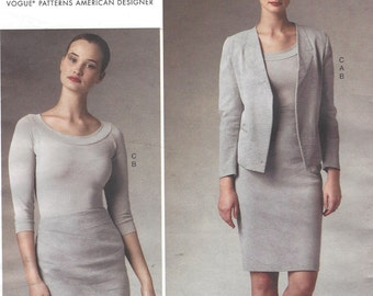 Donna Karan Womens Unlined Jacket, Top and Raised Waist Skirt OOP Vogue Sewing Pattern V1389 Size 12 14 16 18 20 Bust 34 to 42 FF Patterns