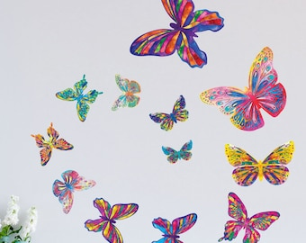 Watercolor Butterfly Wall Decals - Easy Peel & Stick Colorful Butterflies for Walls, Windows and Furniture (1293)
