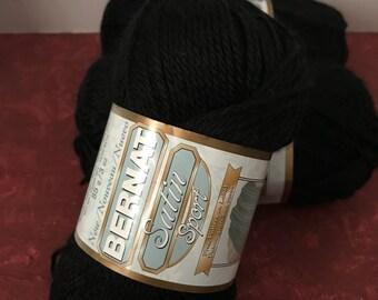 Bernat Satin Sport Yarn - Black